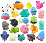Naovio Baby Bath Toys 10 PCs Soft Evade Glue Animals Toys Kids Water Toys Squeeze Sound Beach Bathroom Toys, Assorted Animals Character