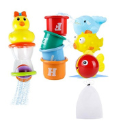 Bath Toys, Safe & Care Baby Bathtime Toys Fun Animals and Stacking Cups 8pcs Cute Educational Toys for Toddlers Boys & Girls with Mesh Bath Toy Organiser