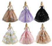 Qiyun 6pcs Handmade Fashion Dress Clothes for Barbie dolls£¬Random Colour