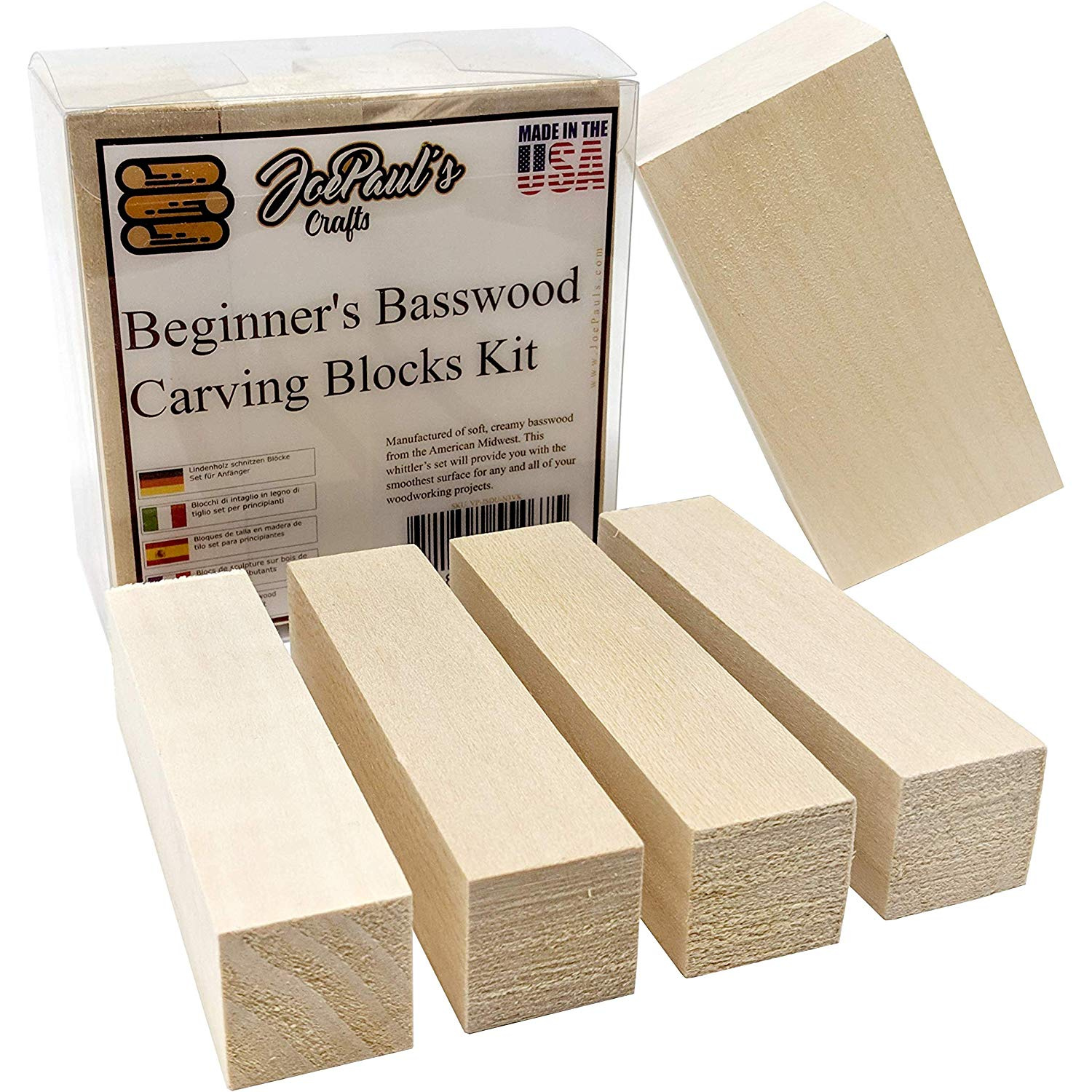 Basswood Beginner S Premium Carving Blocks Kit Best Wood Carving Kit For Kids Preferred Soft Wood Block Sizes Included Made In The Usa