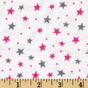 Flannelland Stars Around White/Pink Fabric