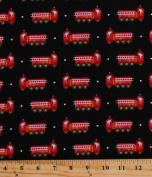 Cotton Fire Trucks Red Firetrucks Fire Engines Firefighting Firefighters Firemen Transportation Emergency Vehicles on Black Be My Hero Cotton Fabric Print by the Yard