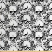 Day Of The Dead Decor Fabric by the Yard by Ambesonne, Skull Skeleton Pattern Print Dia de Los Muertos Festive Theme, Decorative Fabric for Upholstery and Home Accents, Grey and White