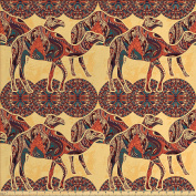 Tribal Decor Fabric by the Yard by Ambesonne, African Camel Animals with Oriental Arabesque Ornaments Folk Culture Image, Decorative Fabric for Upholstery and Home Accents, Yellow Orange