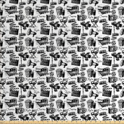Movie Decor Fabric by the Yard by Ambesonne, Vintage Artful Film Cinema Icons Motion Lighting Camera Action Record Graphic, Decorative Fabric for Upholstery and Home Accents, Black White