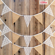 Olpchee 12PCS Triangle Flag Burlap White Floral Lace Banner DIY Fabric Ribbon for Garlands Wedding Birthday Party Decoration