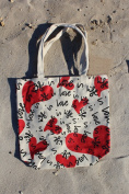 Cotton Beach Bag 15x16x5(bottom gusset) LOVE IS LIFE -3 count pack