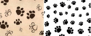 Paw Print Tissue Paper 24 Sheets 50cm x 80cm Black / Kraft