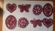 CraftbuddyUS 8 x Vintage Mixed Burgundy Lace Motifs Patches Sewing Sew on Stick on Crochet