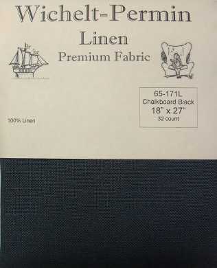 Wichelt Permin 100% Linen Chalkboard Black 32 Ct 46cm x 70cm Cross Stitch Fabric