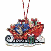 Traditional Sleigh Beaded Cross Stitch Kit Mill Hill Charmed Ornaments 2017 Sleigh Ride MH161736