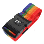 Familymall Travel Password Coded Secure Lock Luggage Suitcase Belt Backpack Bag Strap Band with Name Tag Rainbow Stripe