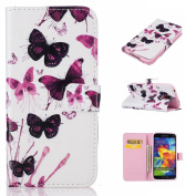 Galaxy S5 Case,BONROY® Samsung Galaxy S5 G900 Painting design PU Leather Phone Holster Case, Flip Folio Book Case, Wallet Cover with Stand Function, Card Slots Money Pouch Protective Leather Wallet Case for Samsung Galaxy S5 G900