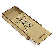 'Winged Angel' Wooden Pencil Case / Slide Top Box