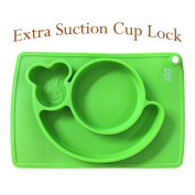 Kidwand Silicone Placemat, 3 Compartments plate for Kids, Babies, and Toddlers with Strong Suction Cups for Dining Table and Highchair - Dishwasher, Microwave Safe, FDA Approved BPA Free