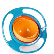Baby Kid Feeding Bowl Dishes Toy 360 Degree Rotate Non Spill Funny Creative UFO,Blue