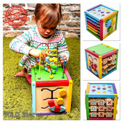"Activity Centre Kids Baby Exersaucer Play Toddler Cube 6-in-1, Wood, 8"" Multicolor By YOLO Stores"