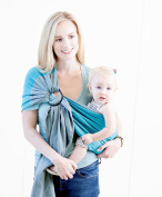Moby Ring Sling Ocean Twist - Great for On-The-Go, Fully-adjustable baby sling, Great for newborns - toddlers