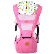 ThreeH Baby Carrier Hoodie With Cool Mesh & Pockets Detachable Hip Seat BC05,Pink