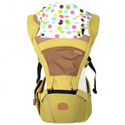 ThreeH Baby Carrier Hoodie Kangaroo Polyester Ergonomic Hip Seat BC04,Yellow