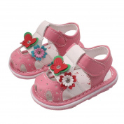 Vovomay Summer Toddler Baby New Flowers Girls Sandals With Sound Soft-Soled Baby Shoes Sandals