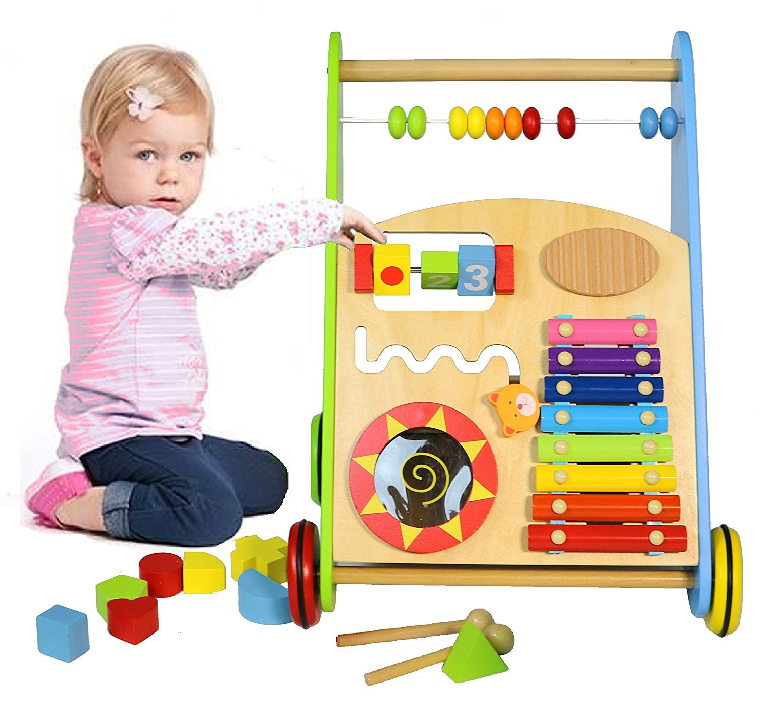 Multifunction Wooden Baby Walker Musical Toys Great For Push Toy For