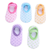 TiaoBug 5 Pair Unisex Baby Polka Dot Anti Skid Grip Socks for 6-24 Months