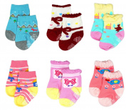 Liwely 6 Pairs Baby Girls Socks, Anti Slip Skid Socks with Grips for 3 - 12 Months Infants