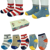 LEADSY 5 Pairs Non-Skid Shoe Socks Baby Boy Girl Toddler Anti Slip Cosy Stretch Knit Stripes Grips Cotton Ankle Footsocks Sneakers Crew Walker Socks