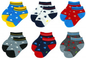 Liwely 6 Pairs Baby Boys Socks, Ankle socks for 3 - 15 Months Infants, Star