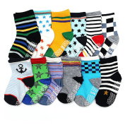 ShoppeWatch 12 Pairs Baby Toddler Socks with Grips Anti-Slip Non-Skid Bottoms For Kids Infant Babies Boys 2T and 3T Walkers BBSK41B