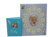 Baby Gifts Photo Album With Frame For Boys - Good For Baby Shower Gifts - First GrandChild Picture Frame - 12 Month Calendar