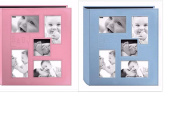 "2 Pioneer Collage Frame Embossed ""Baby"" Sewn Leatherette Cover Photo Album, 10cm x 15cm , Colour Baby Blue + Baby Pink"