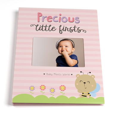 Baby Memory Book for Girls First Five Years, Record Your Child's Development in a Keepsake Journal, Modern Photo Album and Baby Shower Guestbook, 23cm x 29cm Cover
