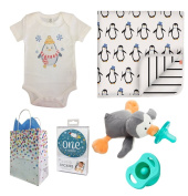 """""""Baby Penguin"""" 5 Item Baby Shower Gift Set, Boy, with FREE Gift Bag"""
