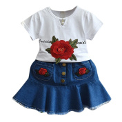 Girls Clothes Odeer 2017 Toddler Kids Baby Girls Summer Outfit Clothes Embroidery T-Shirt+Denim O-Neck Skirt Set