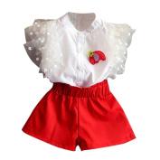 Girls Clothes Odeer 2017 2 pcs/Set Toddler Baby Kids Girl Outfit Red Peter pan CollarClothes Sleeveless Vest Shirt+Short Pants