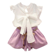 Girls Clothes Odeer 2017 2PCS Toddler Baby Kids Girls White Outfit O-Neck Clothes Bowknot Vest Shirt+Shorts Pants Fashion Set