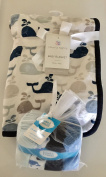 Little Whale Baby Blanket plus 24 washcloths Gift Set