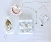 Baptism Kit Catholic Handmade includes Rosary Guardian Angel Medal Towel Candle and Shell Kit De Bautizo Religious Gift