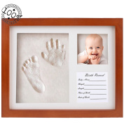 Fanme Baby Handprint and Footprint Frame DIY Clay Mould Babyprints Decorative Photo Frame for Boys Girls Infants Keepsake Gifts for Shower