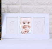 Leoyoubei three-frame photo frame baby hand-painted mud set, baby shower gift register, souvenir decoration wall or desktop decoration, 32cm x 18cm Plastic frame, high clay ,white