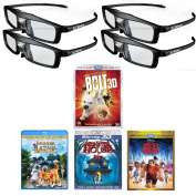 True Depth 3D Glasses and Movie Mega Family Pack! Everything you need for a Family 3D Movie night on your DLP link 3D Projector!
