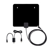 Masione HDTV Antenna Amplified Super Thin Indoor Using - with Detachable Amplifier Signal Booster UHF VHF High Gain and 3m Excellent Performance Coaxial Cable - 60 Miles Range Digital Antenna