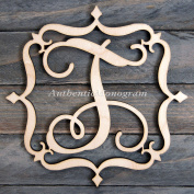Wooden FILIGREE FRAME Single Letter Unpainted Monogram, Home Decor, Wedding Decor, Initial Monogram, Door Hanger, Guarden Decor.