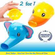 Faucet Extender for Kids - Set of 2 Animal Spout Extenders for Sink Faucets - Hand Washing for Babies, Toddlers & Children