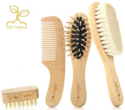 PomPerfect Soft Goat Hair Newborn Baby Brush and Comb Set | Wooden Bristles Baby Brush Cradle Cap Massage Brush | Natural Eco-Friendly Wood Cutie Comb | PLUS Baby Nail Beauty Brush