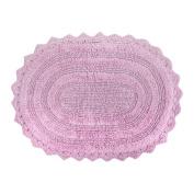 DII 100% Cotton Crochet Large Oval Luxury Spa Soft Bath Rug, For Bathroom Floor, Tub, Shower, Vanity, and Dorm Room, 50cm x 90cm - Mauve