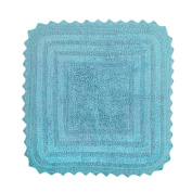 DII 100% Cotton Crochet Square Luxury Spa Soft Bath Rug, For Bathroom Floor, Tub, Shower, Vanity, and Dorm Room, 60cm x 60cm - Cameo Blue