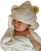 Jungle Snugs Luxury Hooded Baby Towel and Washcloth (White) Antibacterial and Hypoallergenic | Extra Soft to Keep Baby Warm and Cosy | 90cm x 90cm size, for Infants or Toddlers
